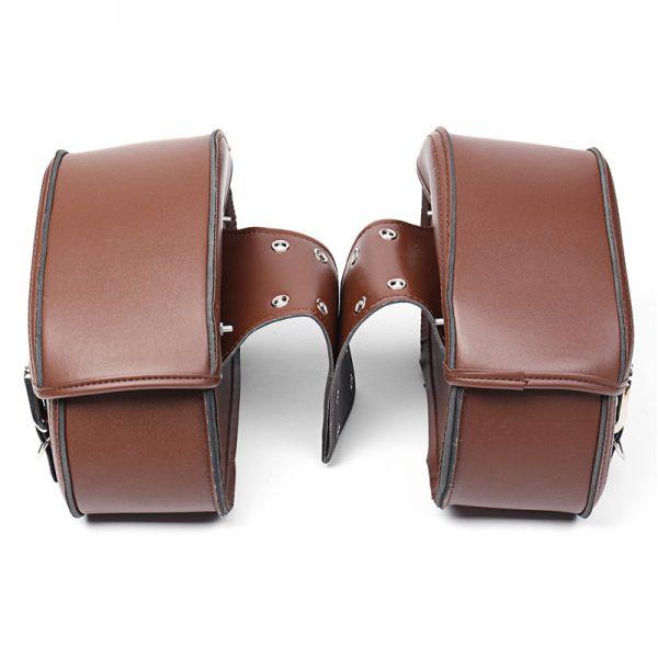 Brown Motorcycle PU Leather Saddlebags Swingarm Side Tool Bag For Harley