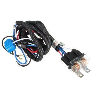 12V 7inch H4 Headlight 2 Headlamp Relay Wiring Harness Light Socket Plug Connector
