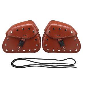 Pair Motorcycle Side Tool Bag Luggage Saddlebags PU Leather Brown/Black Universal