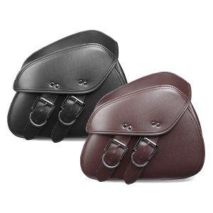 Pair Black/Brown PU Leather Motorcycle Tool Luggage Bag Saddlebags For Harley