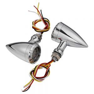 Pair 10mm Motorcycle LED Brake Turn Lights For Harley Cruiser Chopper Indicator Lights