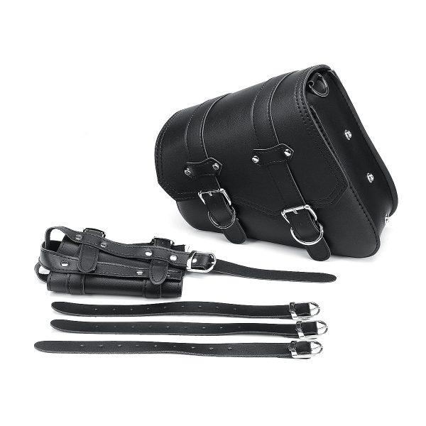 Universal Motorcycle Saddlebags Saddle Bag Black Leather For Harley Sportster XL883 XL1200 04-UP