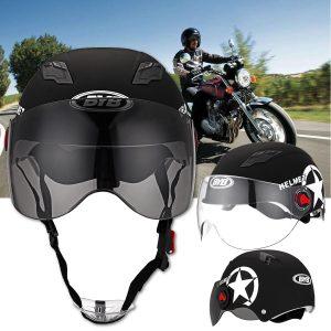 Motorcycle Helmet Half Open Face Helmet Adjustable Five-pointed Star Black