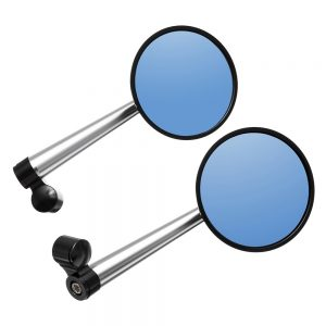 Pair Aluminum Alloy Motorcycle Scooter Handlebar Rearview Side Blue Mirrors