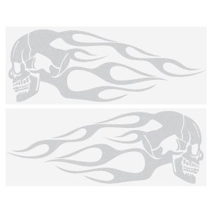 2pcs 13.5x5inch Universal Motorcycle Gas Tank Flames Skull Badge Decal Sticker Red/Blue/Yellow