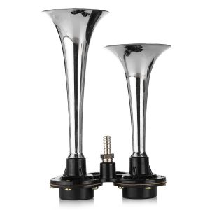 12V 150DB Dual Loud Trumpet Air Horn With Compressor Chrome For Car Truck Boat