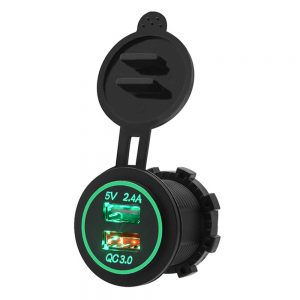 5V 3.4A Motorcycle QC 3.0 Dual USB Waterproof IP66 Socket Charger Power Adapter