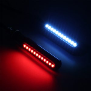 4Pcs Motorcycle Sequential Flowing LED Amber Turn Signal Indicator+White DRL+Red Brake Stop Lights