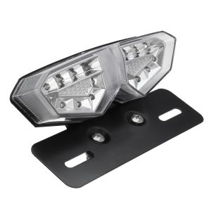 12V Motorcycle 18 LED Tail Brake Light Turn Signal License Plate Lamp Clear Lens