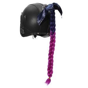 Motorcycle Gradient Ramp Helmet Braids Punk Style Twist Braid Hair Pigtail Ponytail