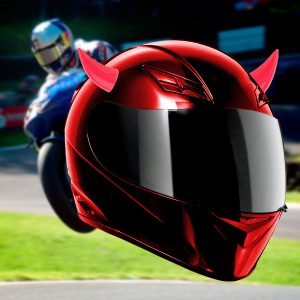 Pink Motorcycle Helmet Headwear Accessoriess Suction Cups Horns Decor Decoration