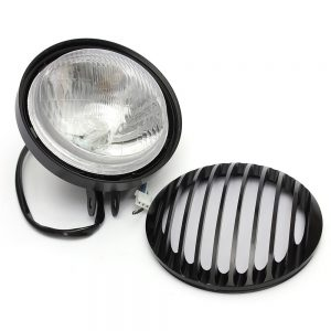 6 Inch Metal Motorcycle Grill Cover Halogen Headlights For Harley Sportster Black