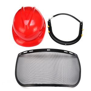 Red Safety Helmet Full Face Mask Chainsaw Brushcutte Mesh For Lawn Mower Trimmer Brush Cutter
