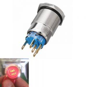12V 19mm 5 Pin Silver Cab Lock Metal Push Button Switch LED Light Momentary