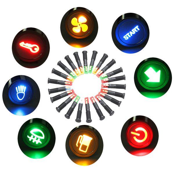 12V 24V 36V 8mm LED Metal Indicator Warning Signal Dash Light Lamp Car Truck Symbol