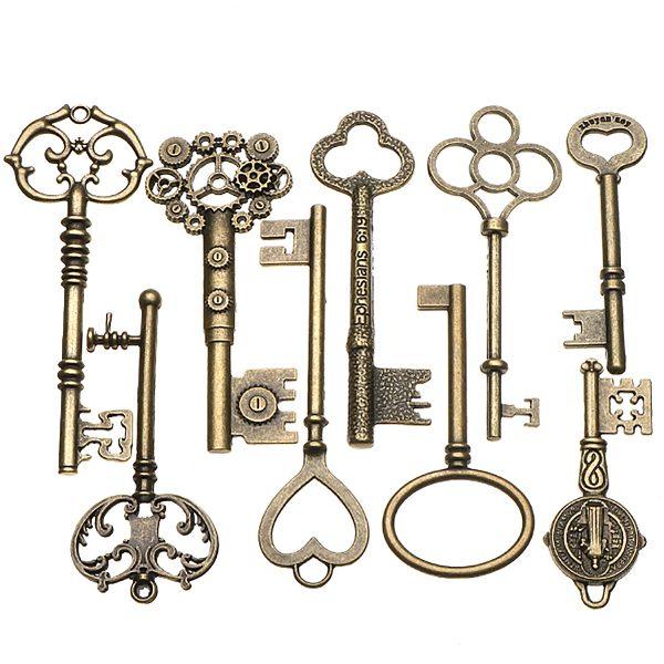 9pcs Big Large Antique Vtgold Brass Skeleton Keys Lot Cabinet Barrel Lock Keyfobs