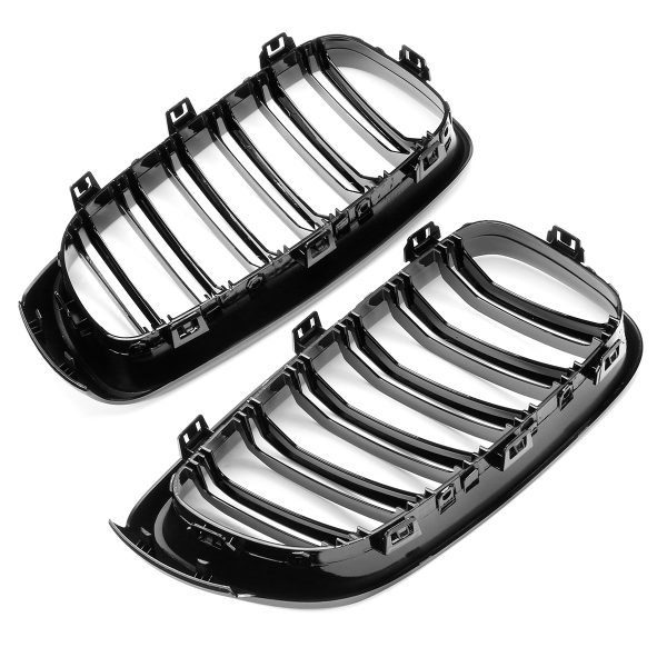 Pair Shiny Black Front Grille For BMW F34 335i GT 328i GTxDrive 2014-16