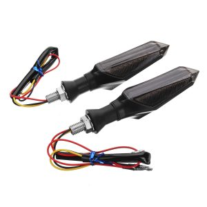 2pcs Smoked Motorcycle Blue LED Turn Signal Lamp Sequential Flowing Indicator Lights