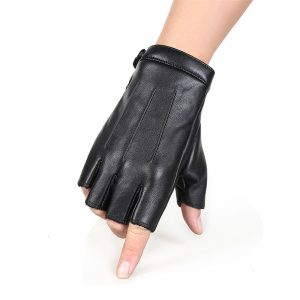 PU Motorcycle Half Finger Gloves Thicken Warm Winter Outdoor Hunting Fleece Leather