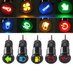 12/24/36V 14MM LED Dashboard Warning Signal Light Van Dash Panel Indicator Lamp