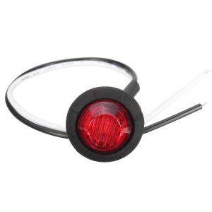 20pcs Mini 12/24V Red Round LED Button Side Marker Lights Lamps Trailer