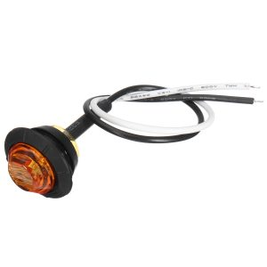 10pcs Mini 12/24V Amber Round LED Button Side Marker Lights Lamps Trailer