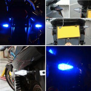4Pcs Universal 10LED 12V 1W Motorcycle Turn Signal Lights Indicator Amber Blue