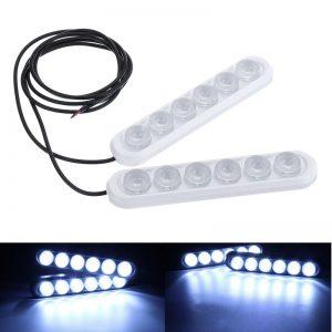 12V 6 LED DRL White Daytime Running Lights Driving Bulbs Daylight Car Fog Lamp