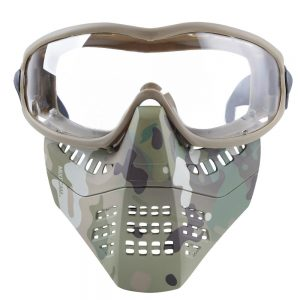 Wosport Tactical Glasses+Half Face Mask Removable Outdoor CS Military Protective Mask