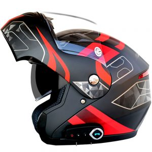 Waterproof Motorcycle Full Face Helmet With bluetooth Music FM Double Visors Removable