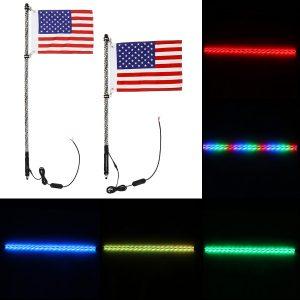 12V 3ft/4ft 5050RGB LED Whip Light Flagpole Lamp With Flag 6000 Colors 300 Modes For Jeep ATV UTV Motorcycle