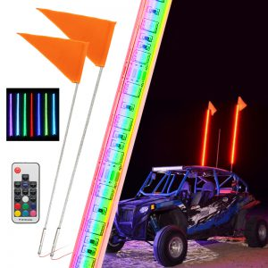 12V 5050 RGB 3ft/4ft/5ft LED Whip Light 30 Mode 13-22W/16-30W Flagpole Banner Lamp With Flag Multi-Color Remote Control For Jeep ATV UTV RZR Motorcycle Truck Off-Road