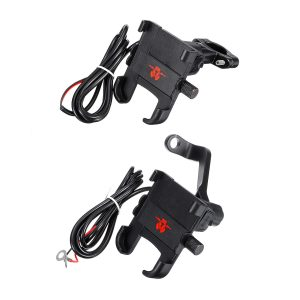 2A USB Charging Mobile Phone Holder Anti-dropping Bracket Motorcycle Aluminum Handlebar/Rearview Mirrors