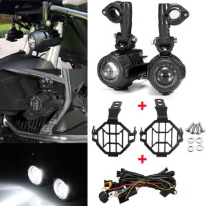 Sencond Generation LED Auxiliary Fog Spot Lamp Aluminum Alloy With Light Protector Guard Cover Harness For BMW R1200GS ADV F800G