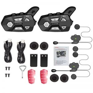 2Pcs WAYXIN R9 1500M Waterproof bluetooth 4 Riders Helmet Intercom Universal Pairing Motorcycle Full-duplex FM Headsets Interphone