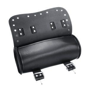 Motorcycle PU Leather Black Tool Bag Front Fork Handlebar Saddlebags Roll Barrel Style