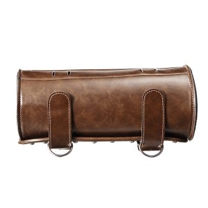 Motorcycle Fork Tool Bag Pouch Saddlebags PU Leather Luggage Roll Brown