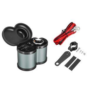 12V-24V 4.5A Dual USB Fast Charger Power Socket Motorcycle Aluminium Waterproof