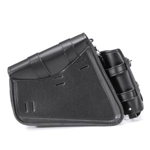 Left/Right Side Universal Motorcycle Saddlebags PU Leather Waterproof Black