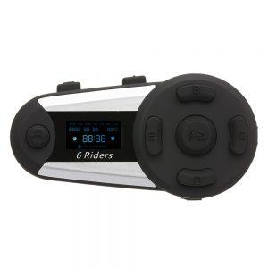 EUROFONE 1200M 6 Riders BT Motorcycle Helmet bluetooth Intercom Headset FM Radio MP3 GPS Full Duplex Waterproof Wireless w/ Screen Mic