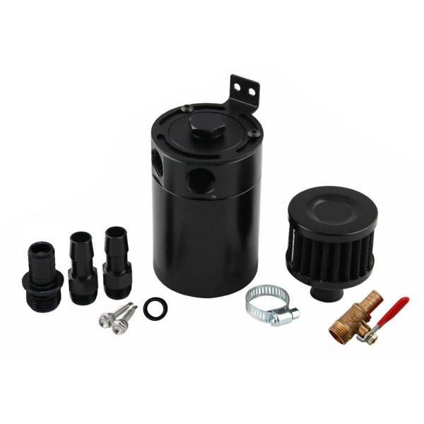 Universal 2-Port Oil Catch Can Tank Reservoir Fuel with Drain Valve Breather Baffled