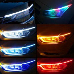 2Pcs 60CM RGB Slim Flexible LED Turn Signal Strip Lights 42LED Car Van Trunk Tail Light