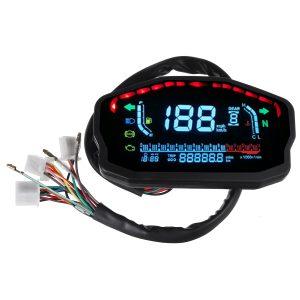 12V 14000RMP Motorcycle Digital LCD Speedometer Odometer Water Temperature Oil Gauge 2 / 4 Cylinders Waterproof