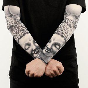 Ice Silk Sunscreen Arm Sleeves Printing Outdoor Riding Flower Arm Tattoo Arm Fishing Sleeve