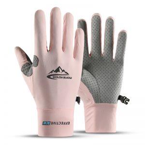 Touch Screen Full Finger Gloves Ice Silk Sunscreen Motorcycle Non-slip Gloves