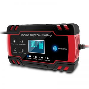 Enusic 12/24V 8A Red Touch Screen Pulse Repair LCD Battery Charger For Car Motorcycle Lead Acid Battery Agm Gel Wet