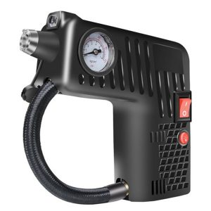 Enusic 12V Portable Air Tire Inflator Pump LED Safety Hammer Compressor For Motorcycle Electric Auto Car Bike