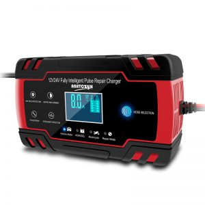 12V/24V 8A Touch Screen Pulse Repair LCD Battery Charger Red For Car Motorcycle Lead Acid Battery Agm Gel Wet