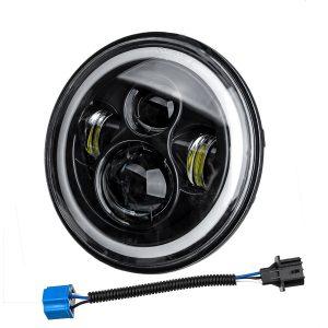 "7"" 75W 6000K DRL Amber Halo Angle Eyes Projector LED Round Headlights Hi/Lo Beam Turn signal Light For Harley/Yamaha/Jeep"