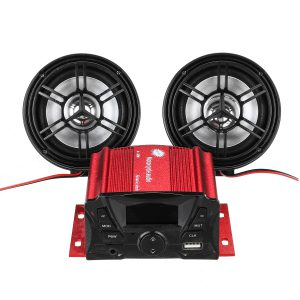 12V bluetooth Motorcycle Audio Speaker Sound System Alarm MP3 player FM Radio